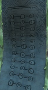"Note ""1-10-5"" in throne room"