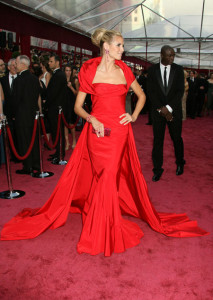 Chanel oscar red dress heidi klum